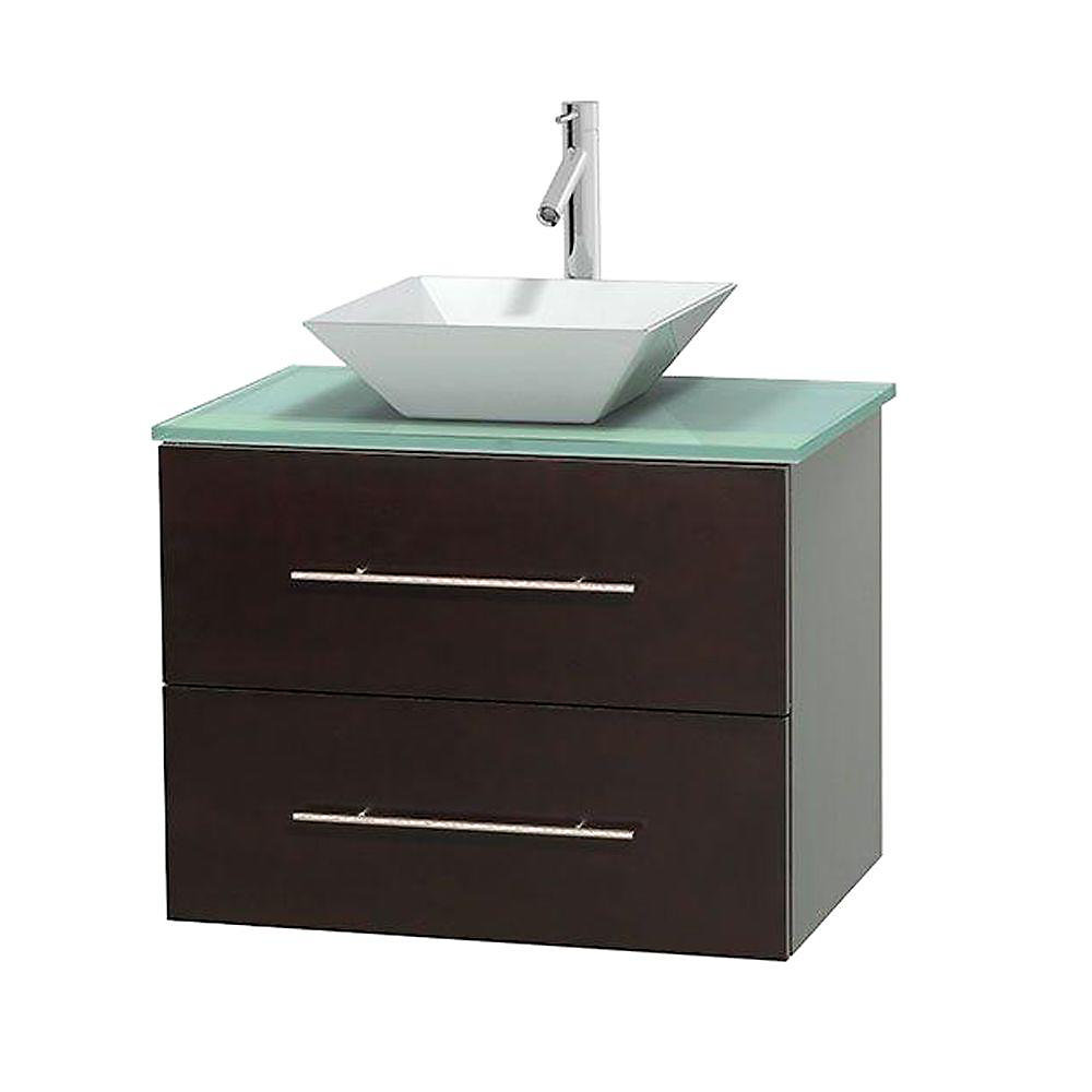 Centra 30-inch W 1-Drawer 1-Door Wall Mounted Vanity in Brown With Top in Green