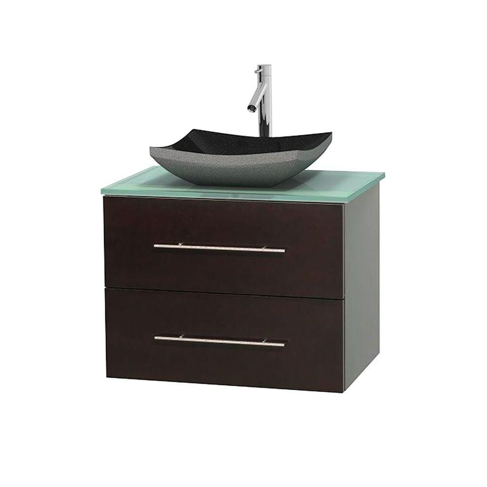 Centra 30-inch W Vanity in Espresso with Glass Top in Ivory with Black Basin