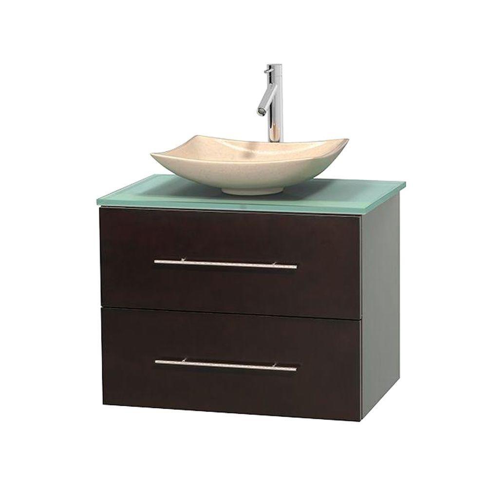 Meuble simple Centra 30 po. espresso, comptoir verre vert, lavabo ivoire, sans miroir