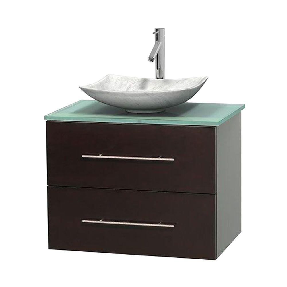 Meuble simple Centra 30 po. espresso, comptoir verre vert, lavabo blanc Carrare, sans miroir
