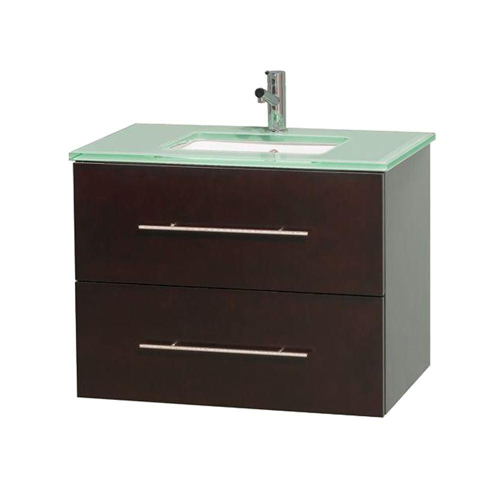 Centra 30-inch W Vanity in Espresso with Glass Top in Ivory with Square Basin
