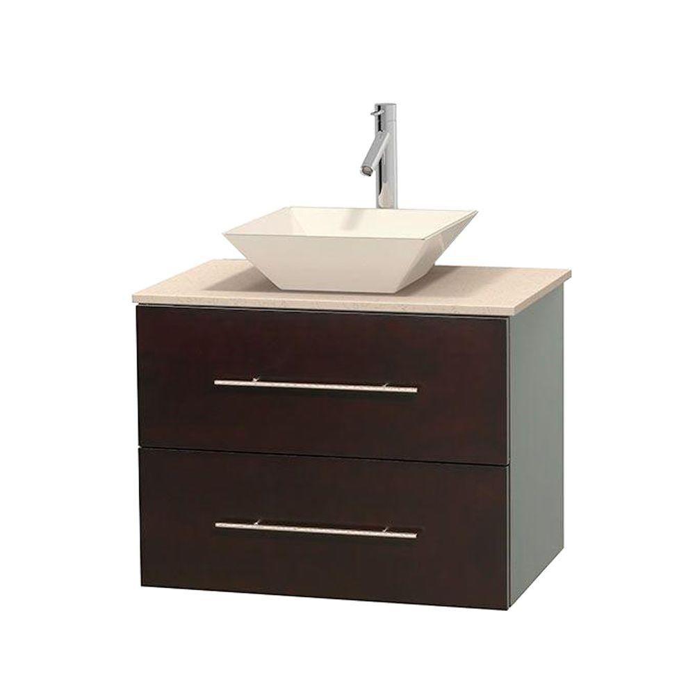Meuble unique Centra 30 po. espresso, comptoir marbre ivoire, lavabo porcelaine bone sans miroir