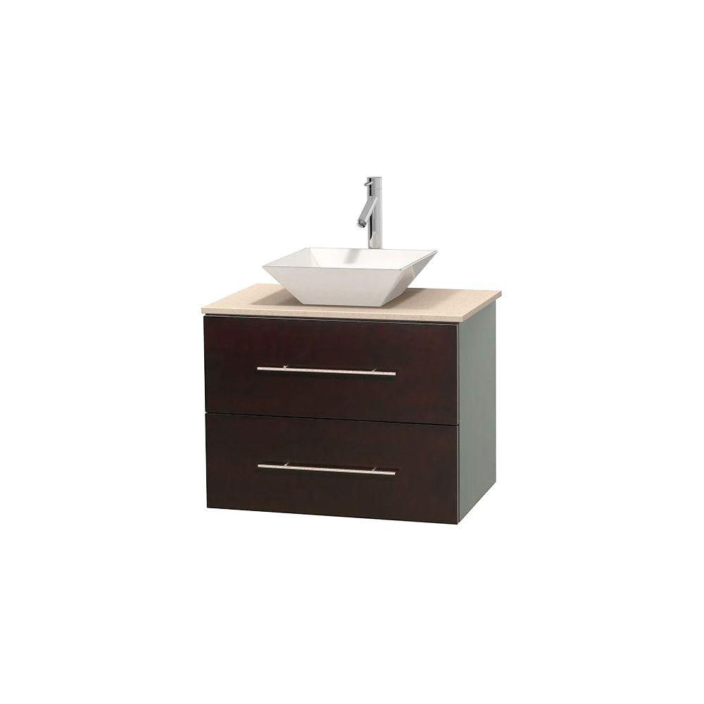 Centra 30-inch W Vanity in Espresso with Marble Top in Ivory with White Basin