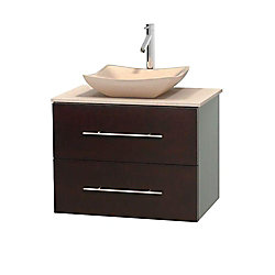 Wyndham Collection Centra 30-inch W 1-Drawer 1-Door Wall Mounted Vanity in Brown With Marble Top in Beige Tan
