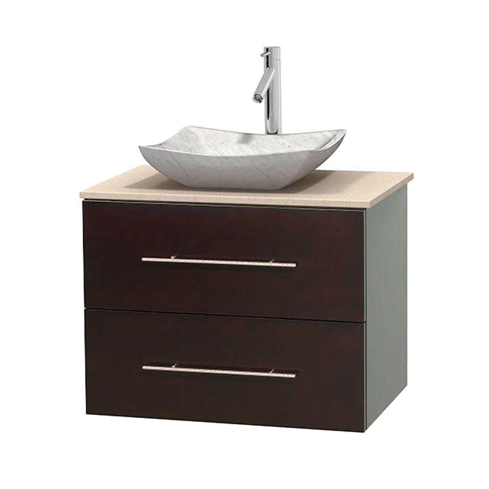 Meuble simple Centra 30 po. espresso, comptoir marbre ivoire, lavabo blanc Carrare, sans miroir