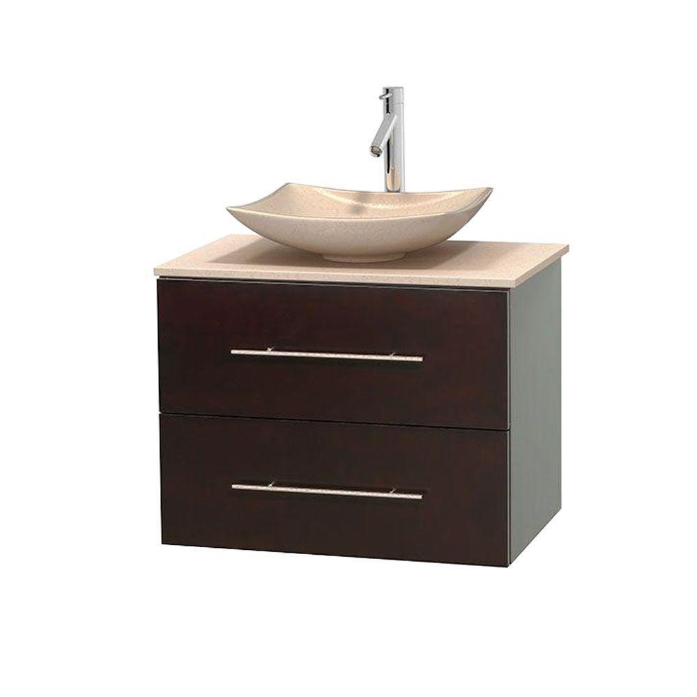Meuble simple Centra 30 po. espresso, comptoir marbre ivoire, lavabo ivoire, sans miroir