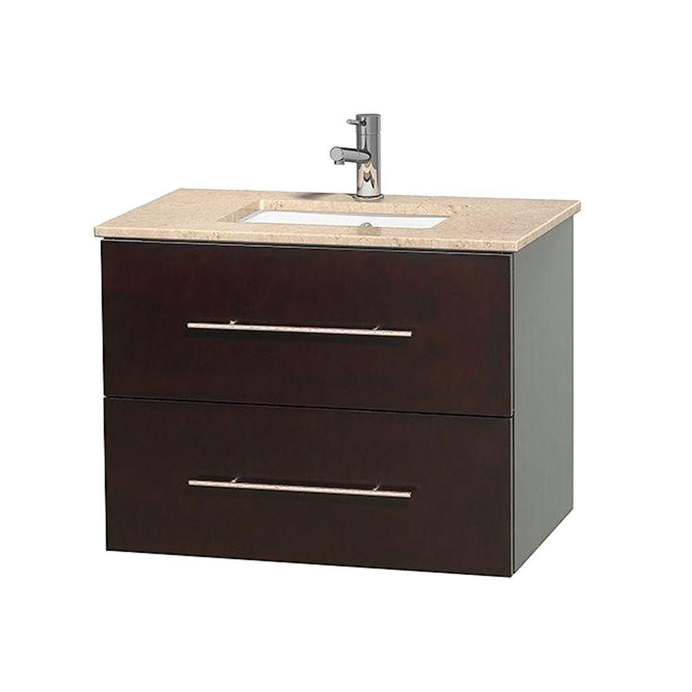 Centra 30-inch W Vanity in Espresso with Marble Top in Ivory with Square Basin