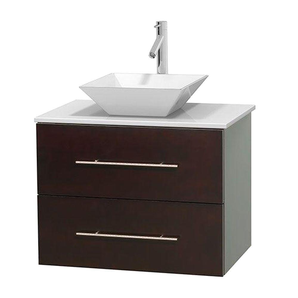 Meuble unique Centra 30 po. espresso, comptoir solide, lavabo porcelaine blanche sans miroir