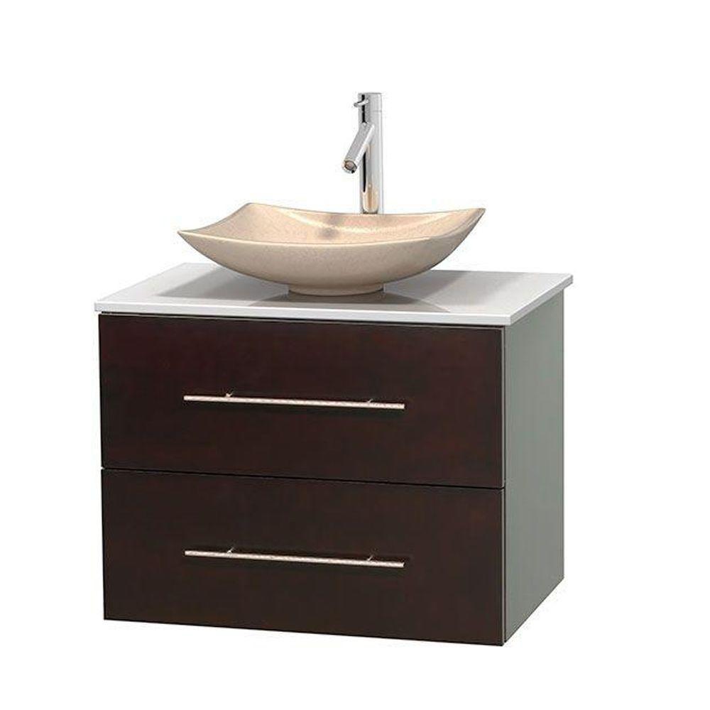 Meuble simple Centra 30 po. espresso, comptoir solide, lavabo ivoire, sans miroir
