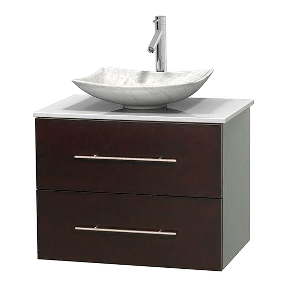 Centra 30-inch W Vanity in Espresso with Solid Top with White Basin