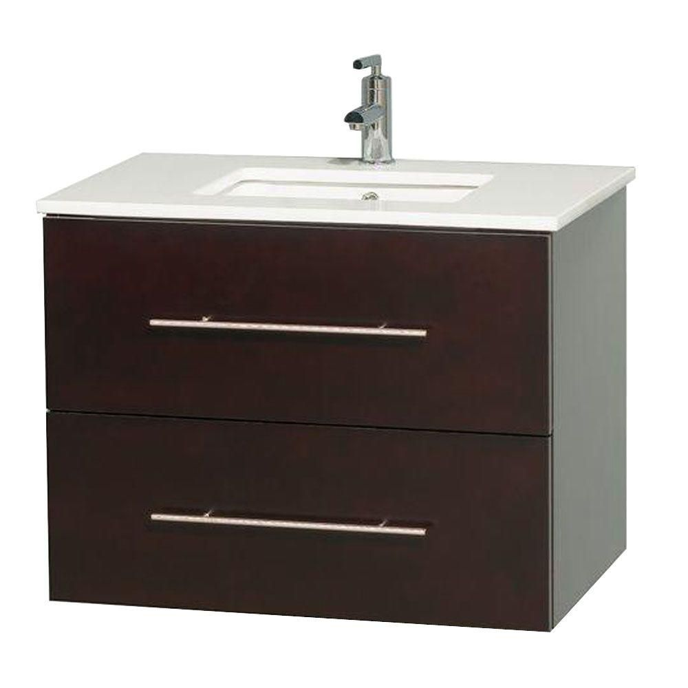Centra 30-inch W Vanity in Espresso with Solid Top with Square Basin
