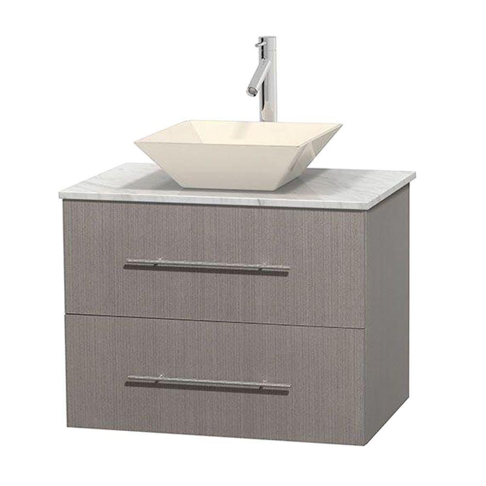 Meuble unique Centra 30 po. chêne gris, comptoir blanc Carrare, lavabo porcelaine bone sans miroi...