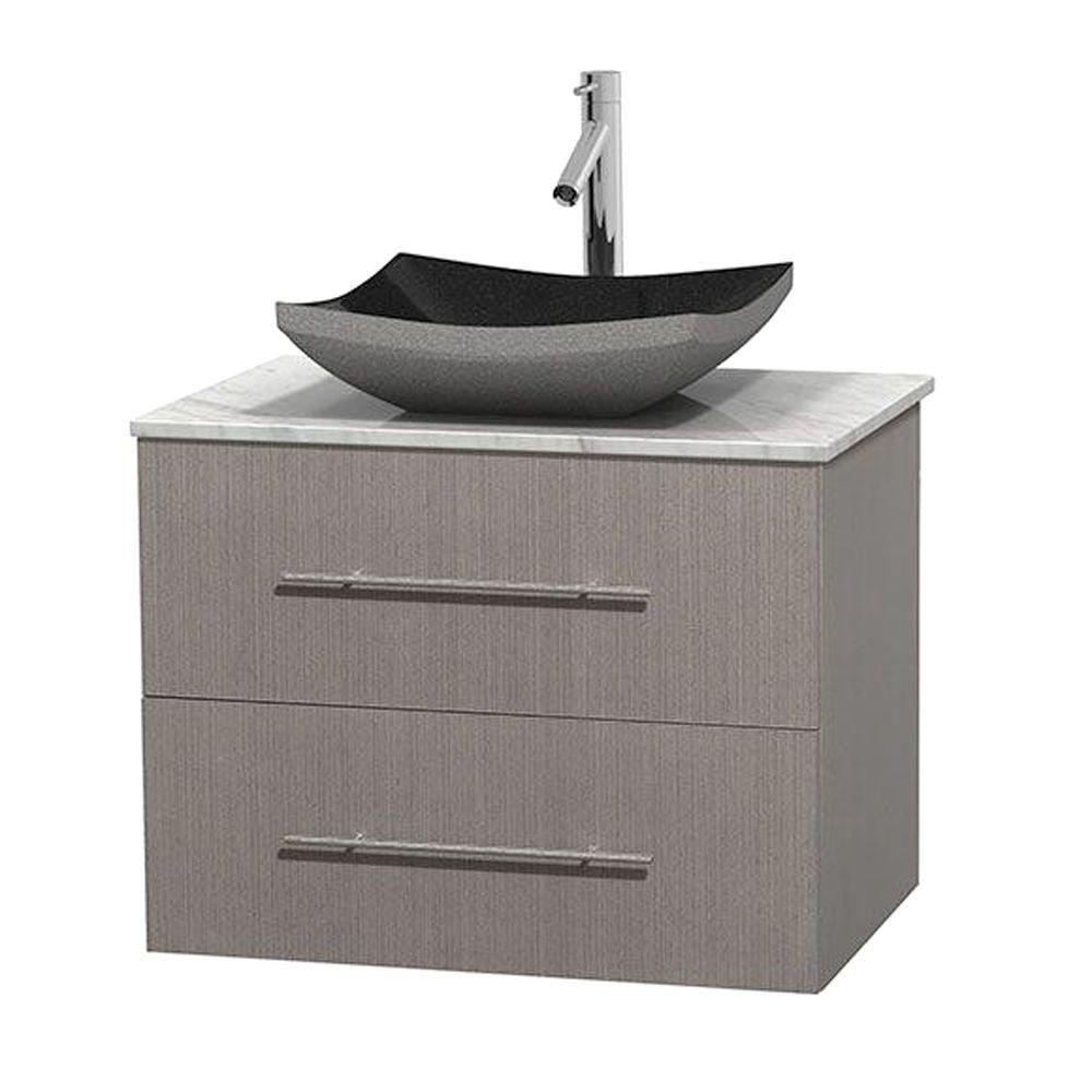 Meuble simple Centra 30 po. chêne gris, comptoir blanc Carrare, lavabo granit noir, sans miroir