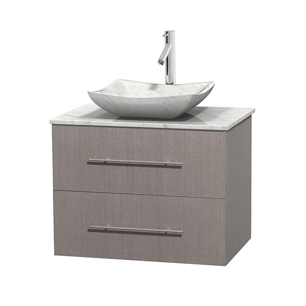 Centra 30-inch W Vanity in Grey Oak with White Top with White Basin