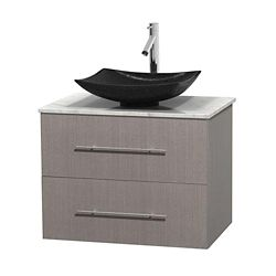 Wyndham Collection Centra 30-inch W 1-Drawer 1-Door Wall Mounted Vanity in Grey With Marble Top in White