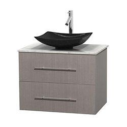 Wyndham Collection Meuble simple Centra 30 po. chêne gris, comptoir blanc Carrare, lavabo granit noir, sans miroir