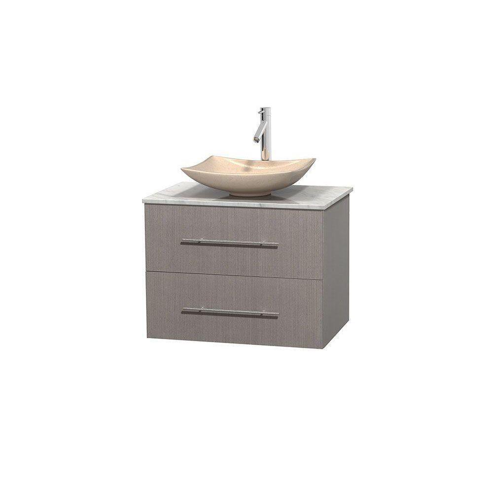 Meuble simple Centra 30 po. chêne gris, comptoir blanc Carrare, lavabo ivoire, sans miroir