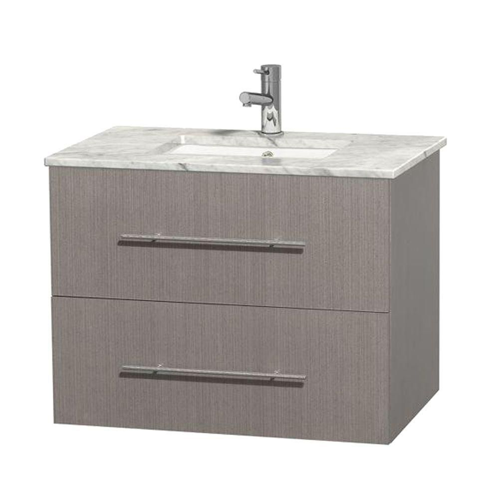 Centra 30-inch W Vanity in Grey Oak with White Top with Square Basin