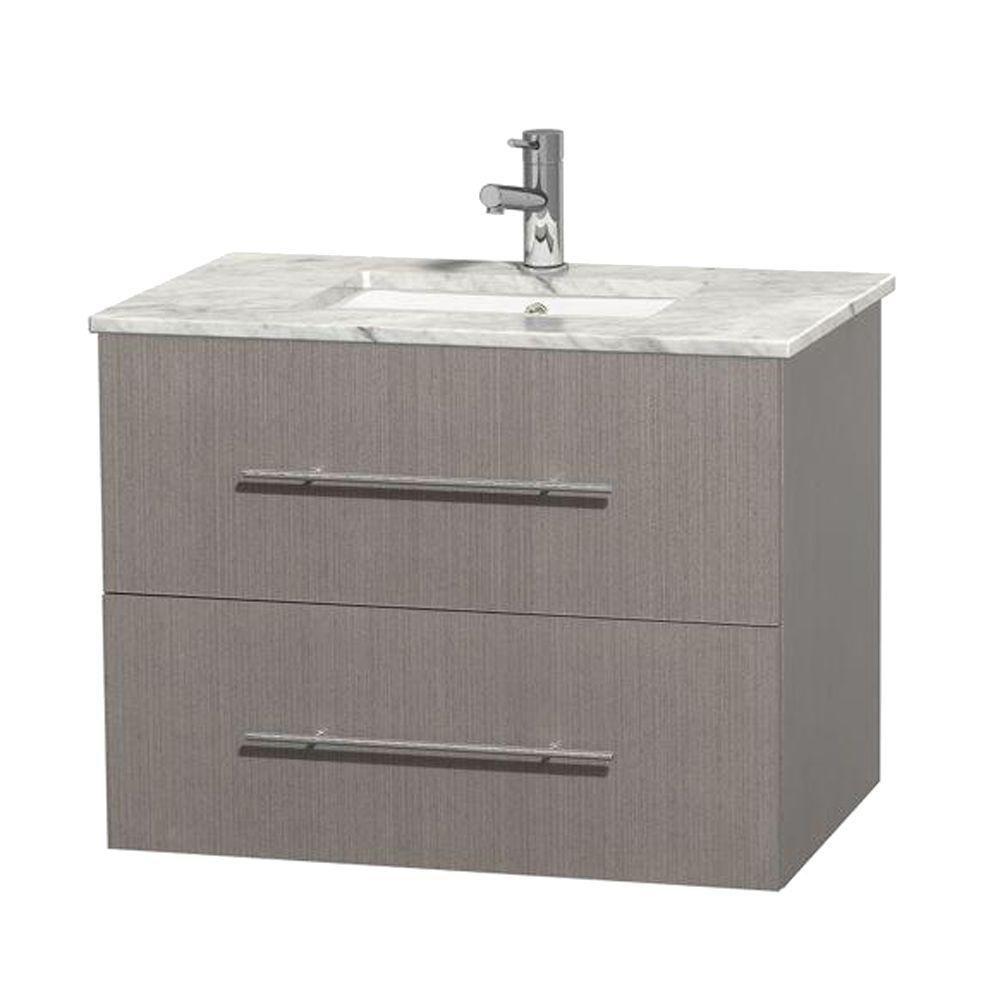 Meuble unique Centra 30 po. chêne gris, comptoir blanc Carrare, lavabo carré sans miroir
