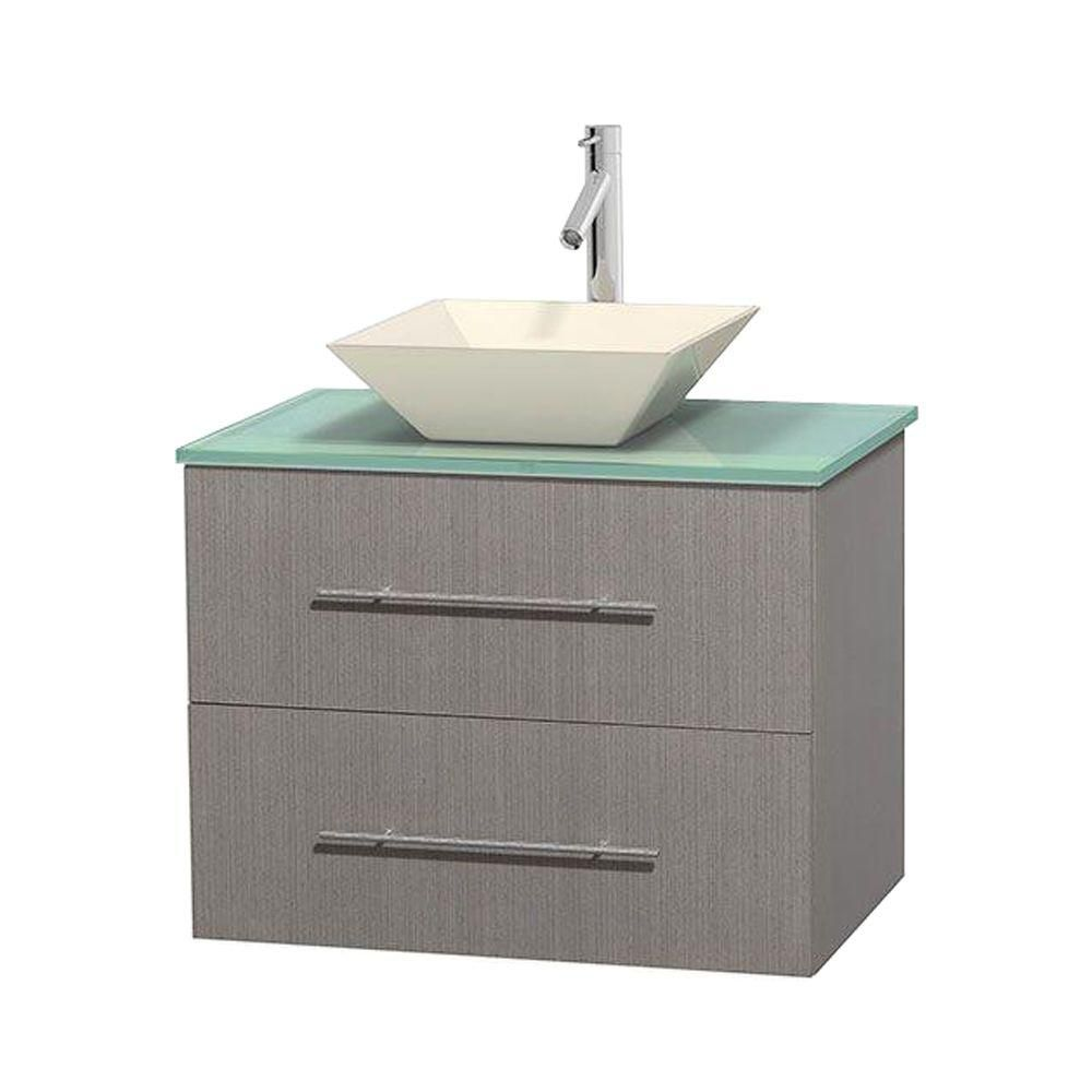 Centra 30-inch W Vanity in Grey Oak with Glass Top with Bone Basin