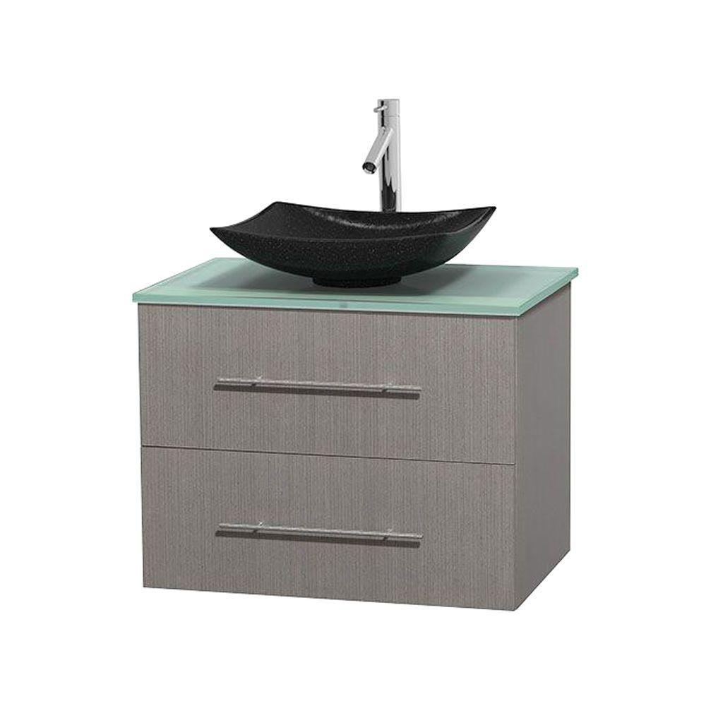 Meuble simple Centra 30 po. chêne gris, comptoir verre vert, lavabo granit noir, sans miroir