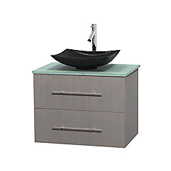 Wyndham Collection Centra 30-inch W 1-Drawer 1-Door Wall Mounted Vanity in Grey With Top in Green