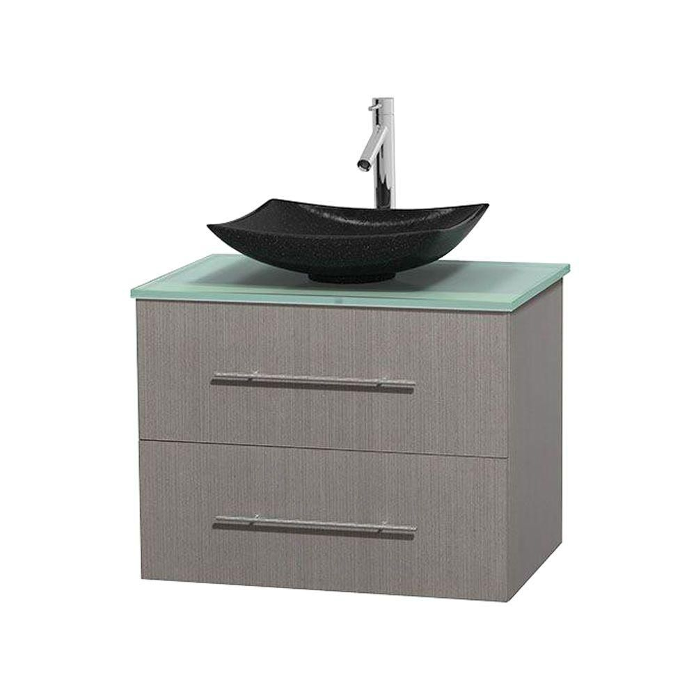 Centra 30-inch W Vanity in Grey Oak with Glass Top with Black Basin