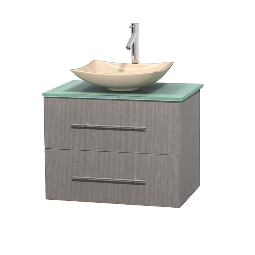 Centra 30-inch W Vanity in Grey Oak with Glass Top with Ivory Basin