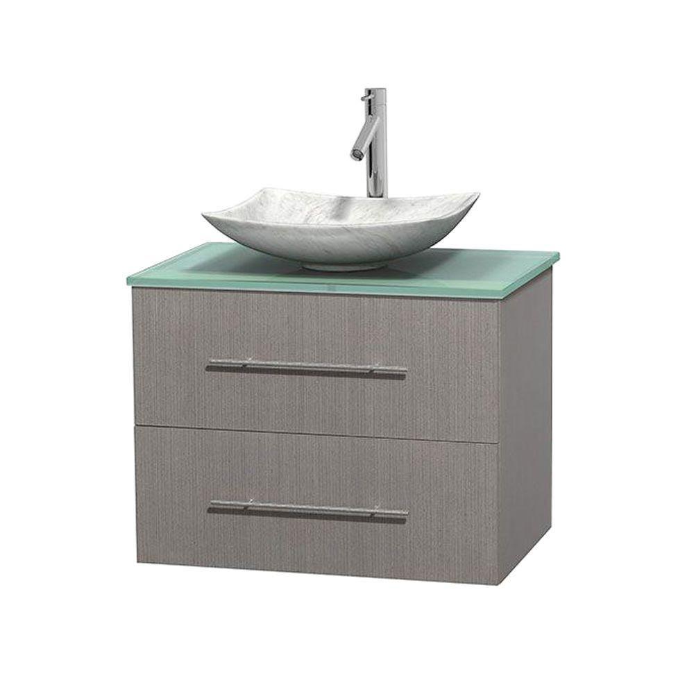 Meuble simple Centra 30 po. chêne gris, comptoir verre vert, lavabo blanc Carrare, sans miroir