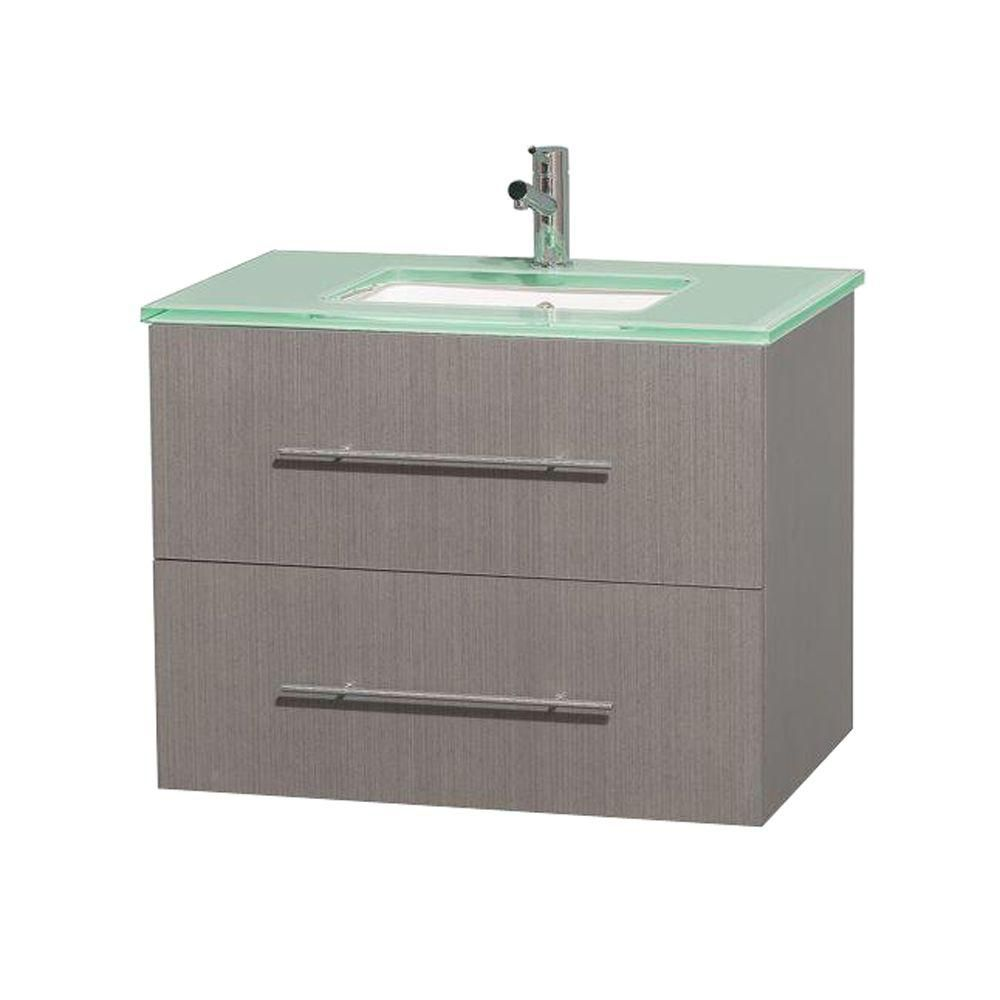 Centra 30-inch W Vanity in Grey Oak with Glass Top with Square Basin