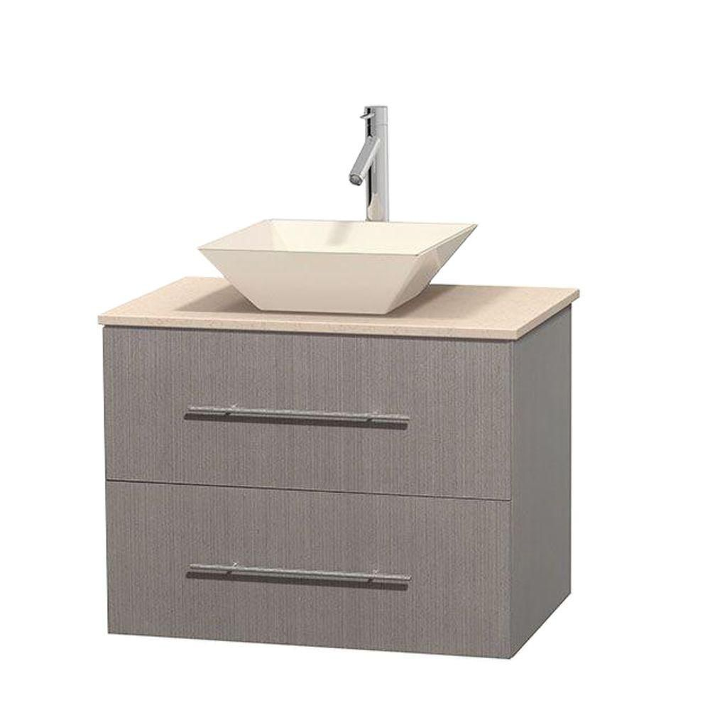 Centra 30-inch W Vanity in Grey Oak with Marble Top in Ivory with Bone Basin