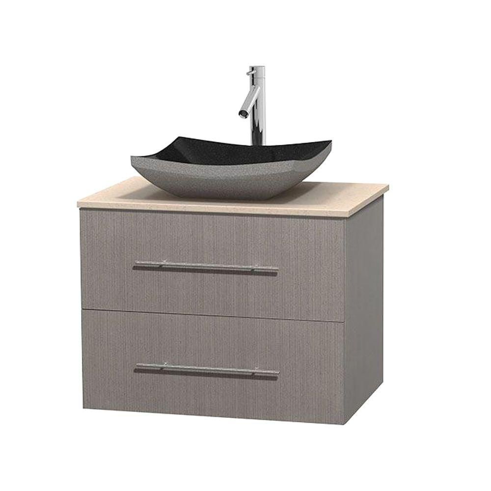 Centra 30-inch W Vanity in Grey Oak with Marble Top in Ivory with Black Basin