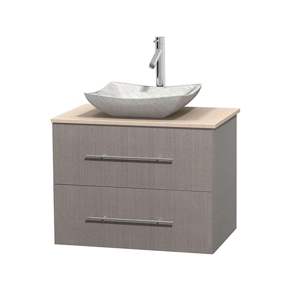 Meuble simple Centra 30 po. chêne gris, comptoir marbre ivoire, lavabo blanc Carrare, sans miroir