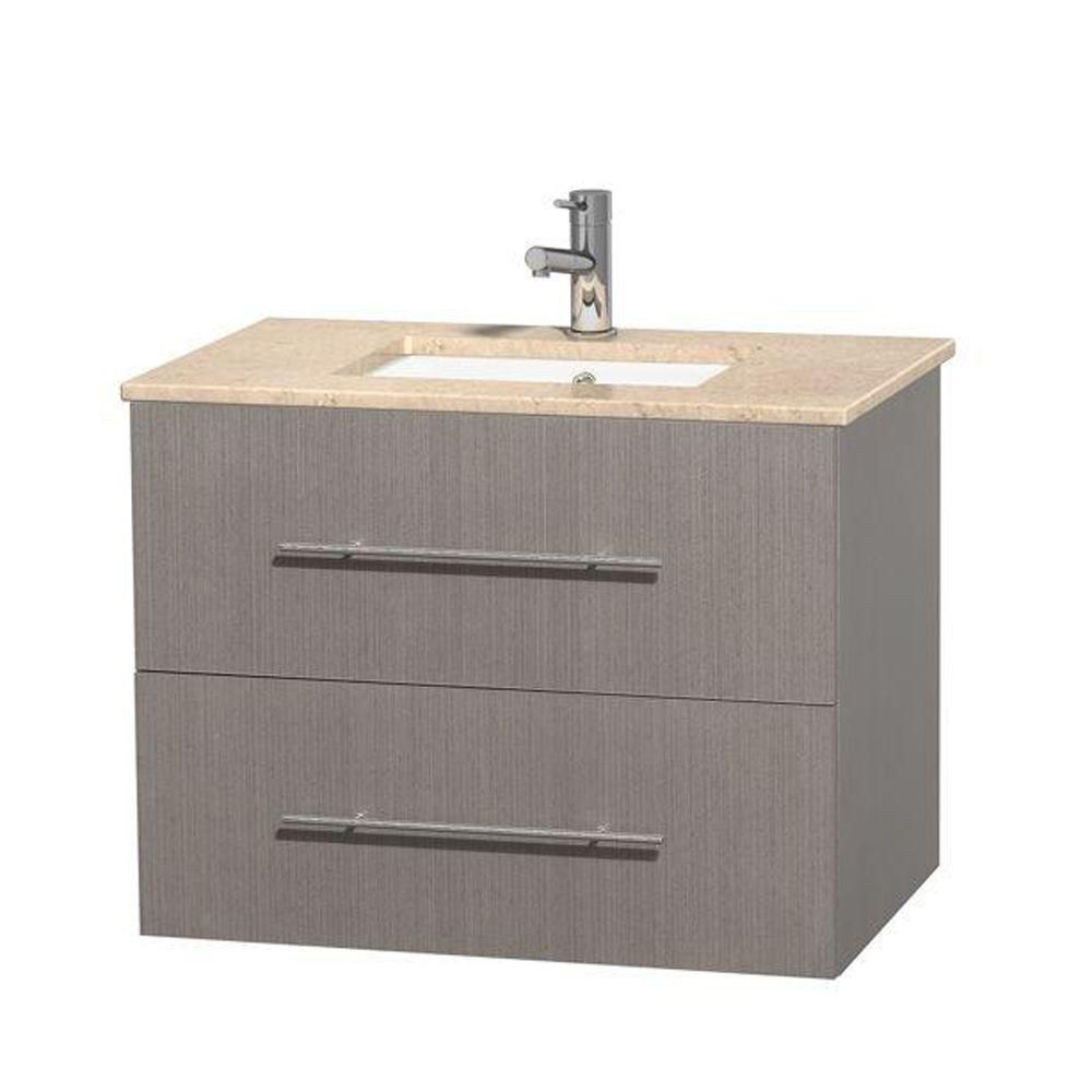 Centra 30-inch W Vanity in Grey Oak with Marble Top in Ivory with Square Basin