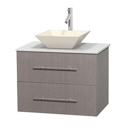 Wyndham Collection Centra 30-inch W 1-Drawer 1-Door Wall Mounted Vanity in Grey With Artificial Stone Top in White