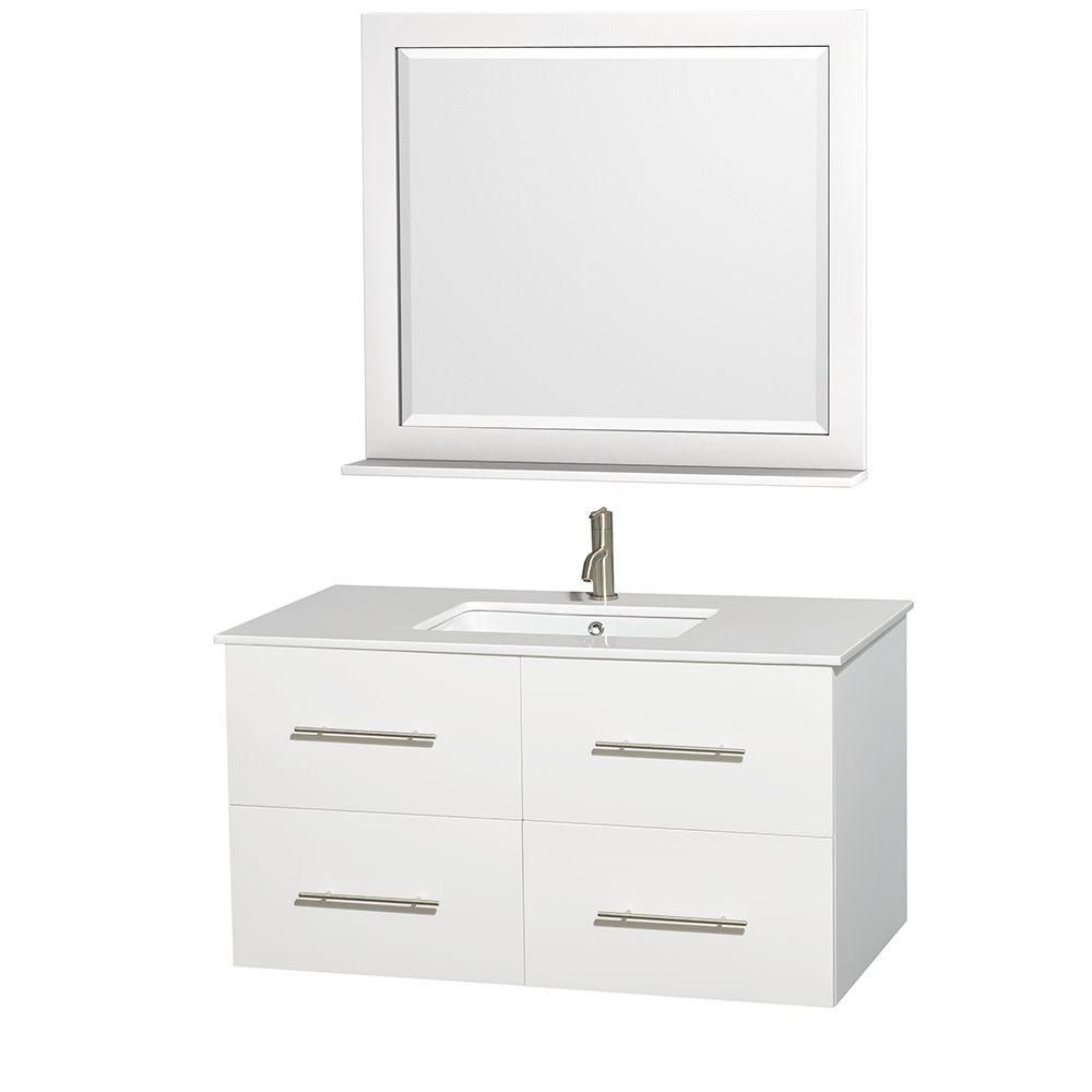 Centra 42-inch W Vanity in White with Solid Top with Square Basin and Mirror