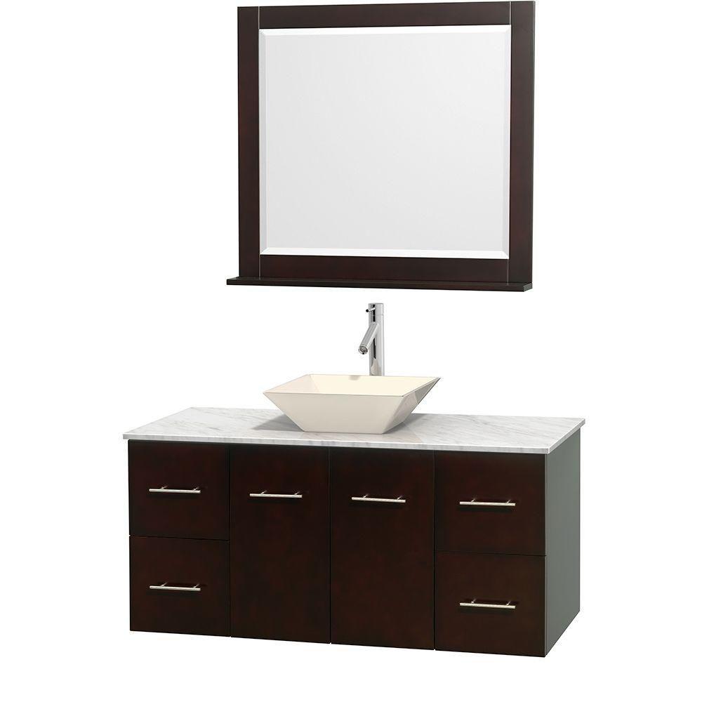 Meuble unique Centra 48 po. espresso, comptoir blanc Carrare, lavabo porcelaine bone, miroir 36 p...