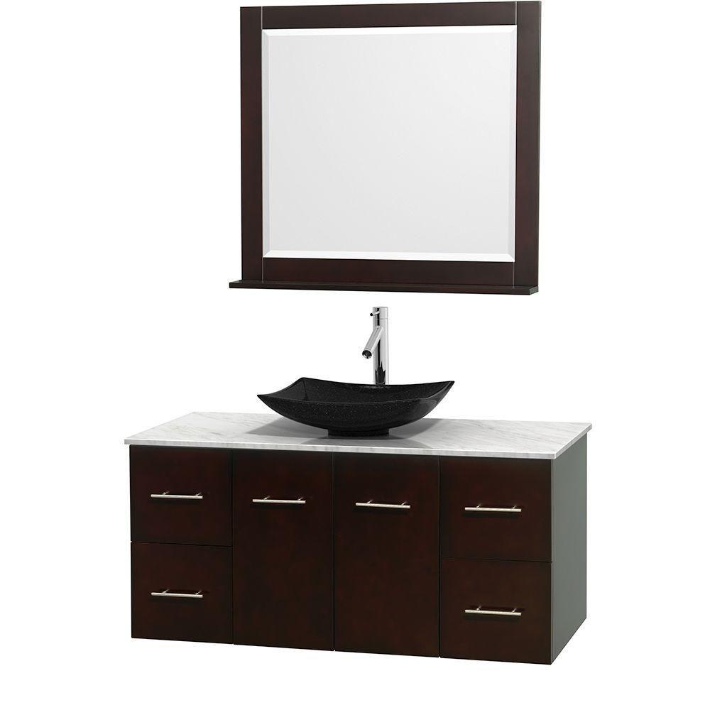 Meuble simple Centra 48 po. espresso, comptoir blanc Carrare, lavabo granit noir, miroir 36 po.
