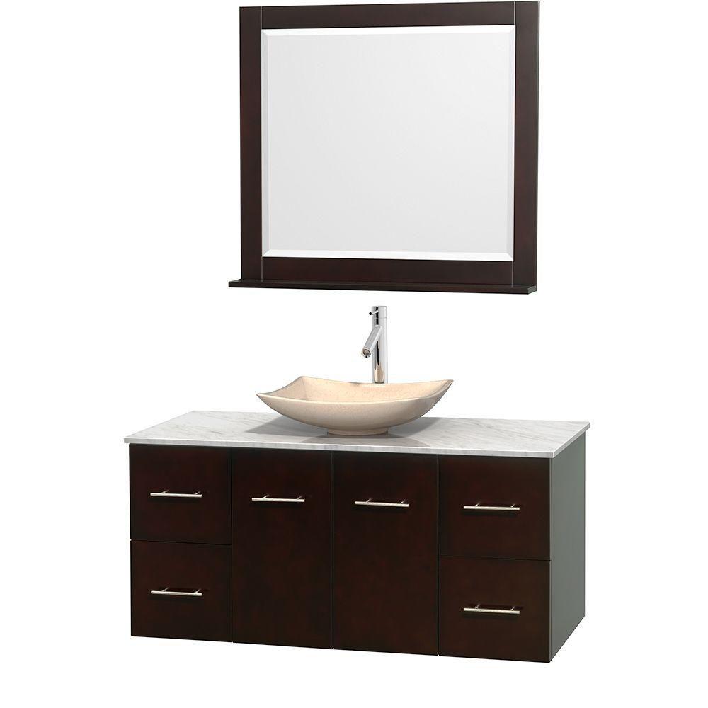 Meuble simple Centra 48 po. espresso, comptoir blanc Carrare, lavabo ivoire, miroir 36 po.