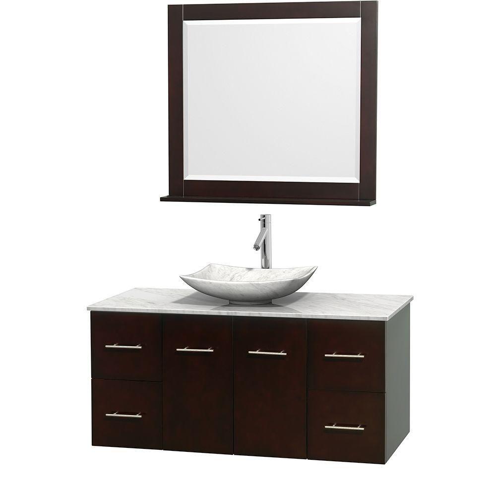 Meuble simple Centra 48 po. espresso, comptoir blanc Carrare, lavabo blanc Carrare, miroir 36 po.