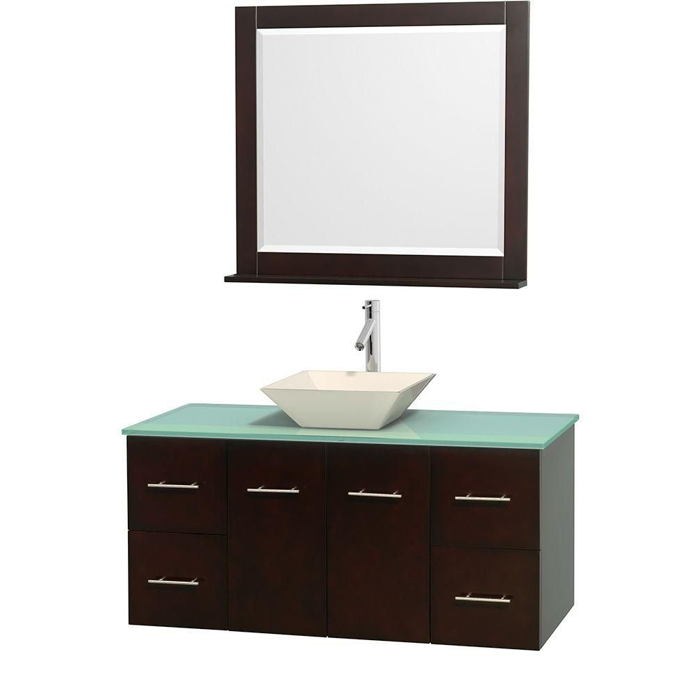 Centra 48-inch W Vanity in Espresso with Glass Top with Bone Basin and Mirror