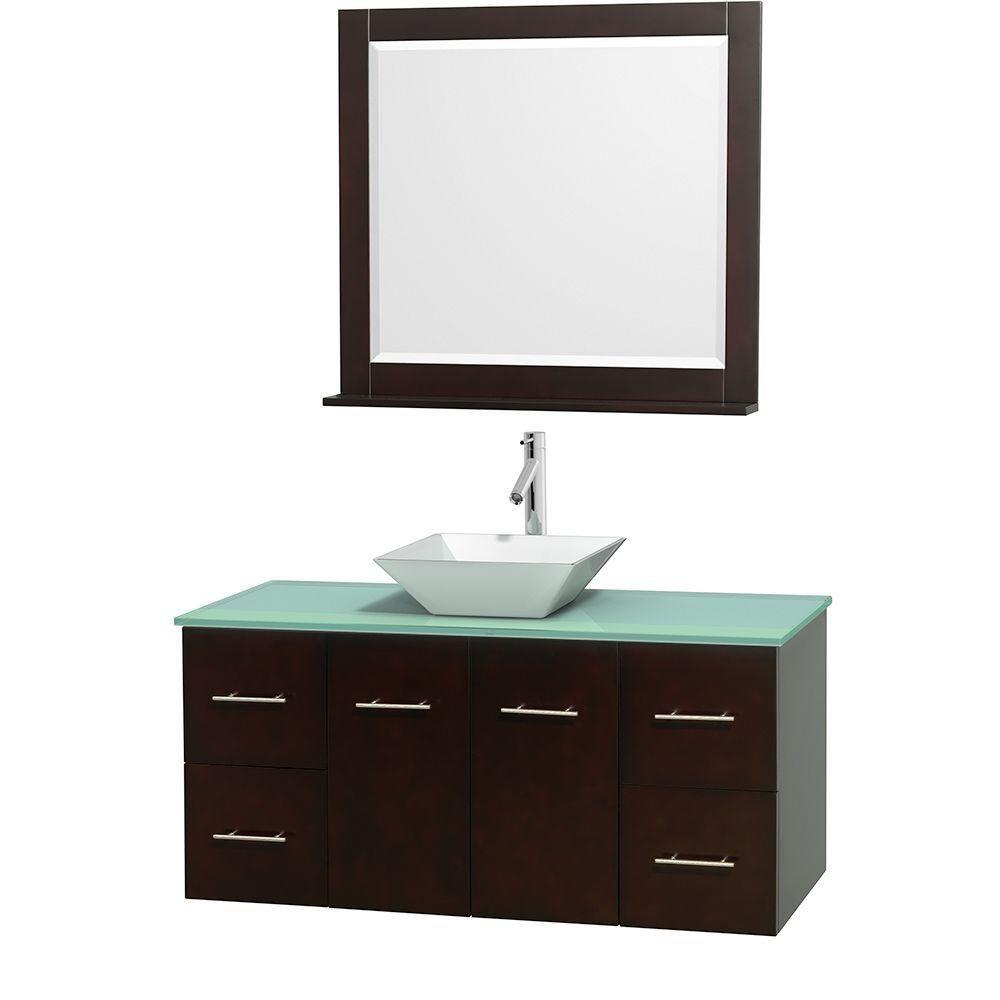 Meuble unique Centra 48 po. espresso, comptoir verre vert, lavabo porcelaine blanche, miroir 36 p...