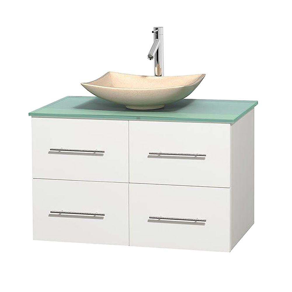 Centra 36-inch W 2-Drawer 2-Door Wall Mounted Vanity in White With Top in Green
