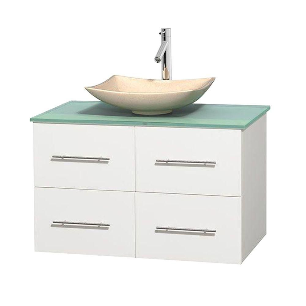 Centra 36-inch W Vanity in White with Glass Top with Ivory Basin