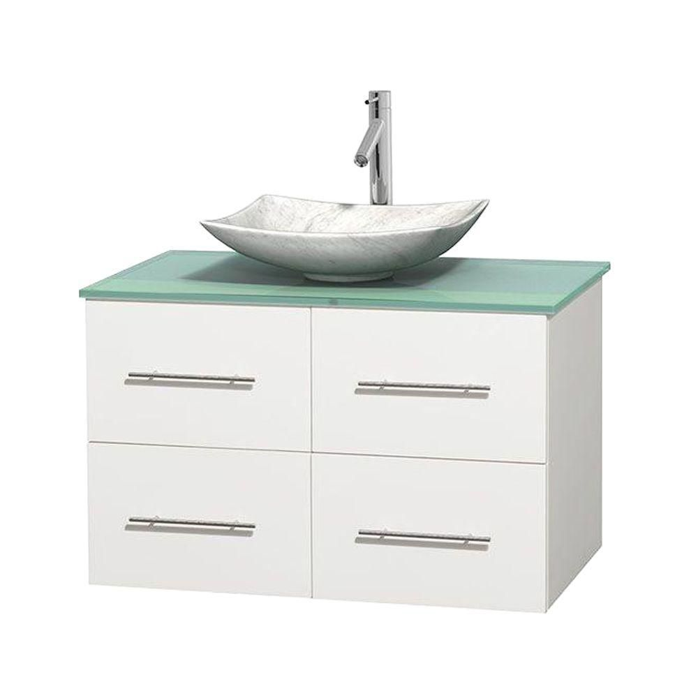 Centra 36-inch W Vanity in White with Glass Top with White Basin
