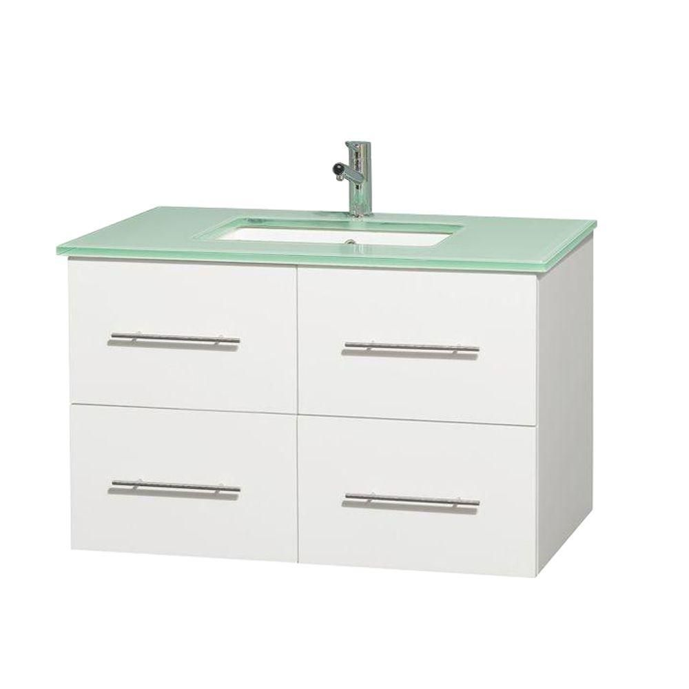 Centra 36-inch W Vanity in White with Glass Top with Square Basin