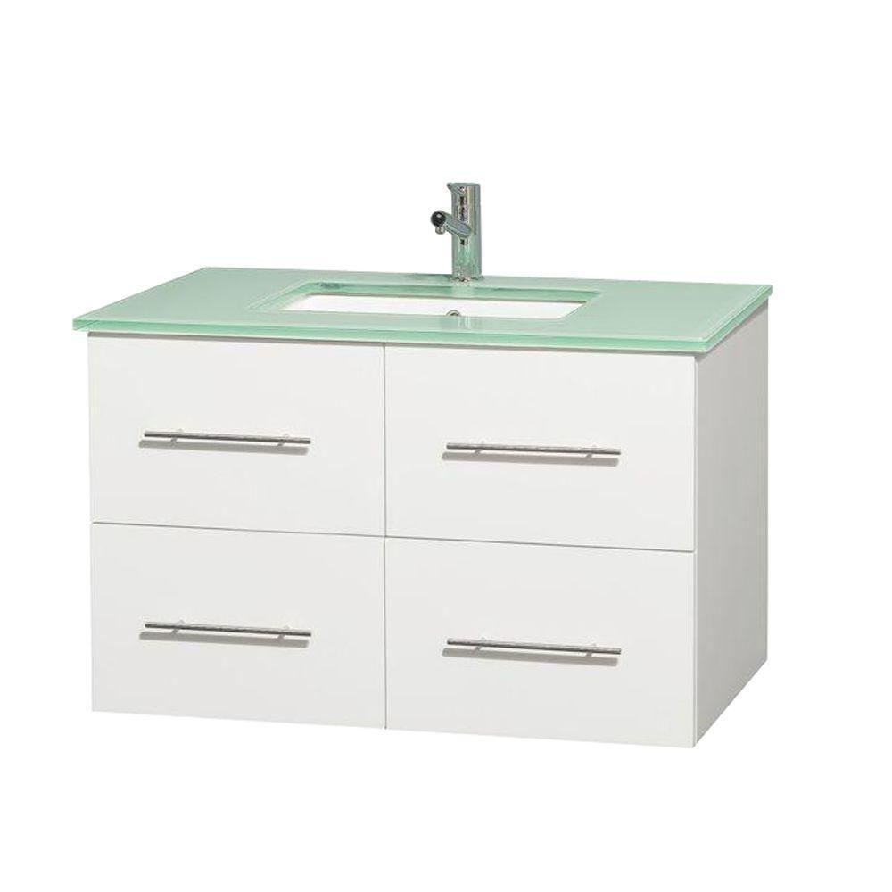 Meuble unique Centra 36 po. blanc, comptoir verre vert, lavabo carré sans miroir