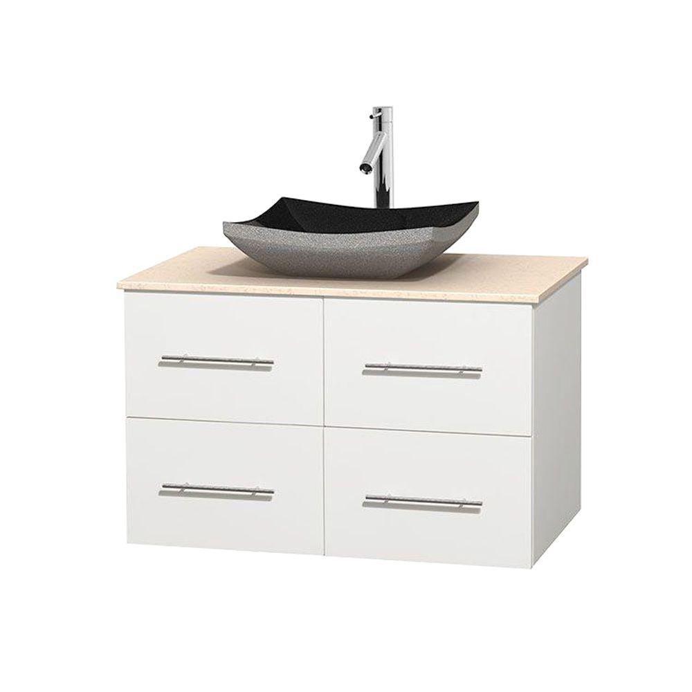 Meuble simple Centra 36 po. blanc, comptoir marbre ivoire, lavabo granit noir, sans miroir