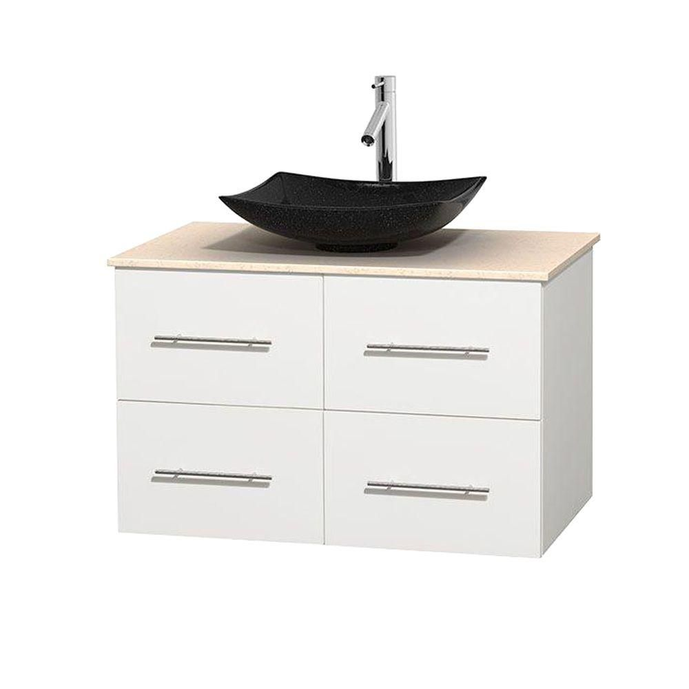 Centra 36-inch W Vanity in White with Marble Top in Ivory with Black Basin