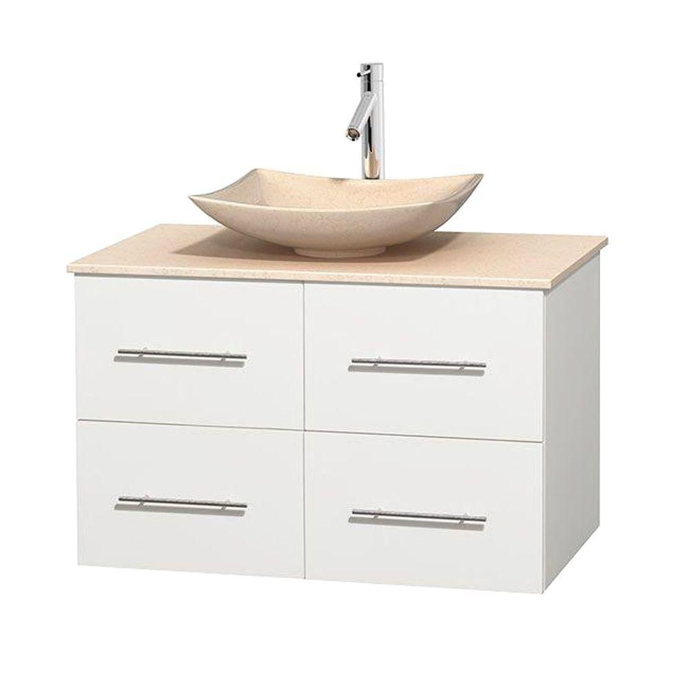 Centra 36-inch W Vanity in White with Marble Top in Ivory with Ivory Basin